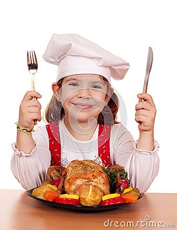 Mała dziewczynka kucharz