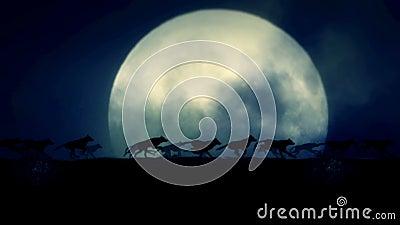 Mała paczka wilki Biega na Powstającej księżyc w pełni nocy ilustracja wektor
