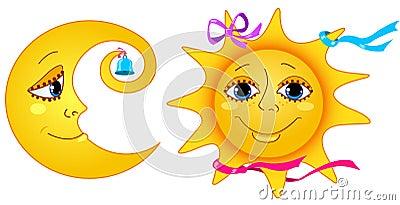 Maan en zon.