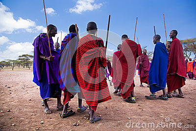 Maasai men in their ritual dance in their village in Tanzania, Africa Editorial Image