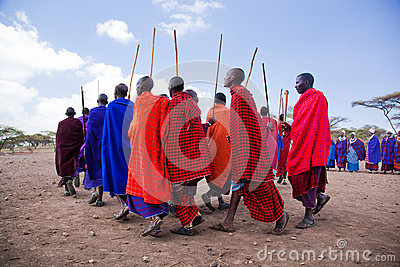 Maasai men in their ritual dance in their village in Tanzania, Africa Editorial Photography