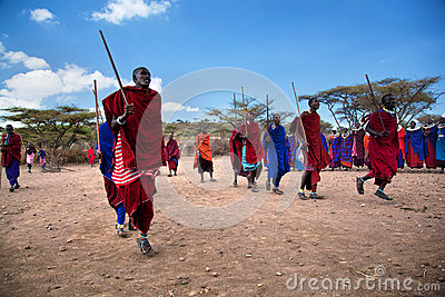 Maasai men in their ritual dance in their village in Tanzania, Africa Editorial Stock Photo