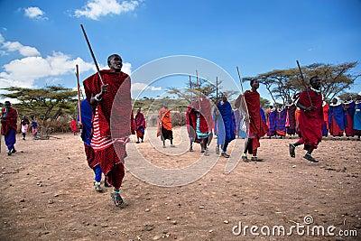 Maasai men in their ritual dance in their village in Tanzania, Africa Editorial Stock Photo