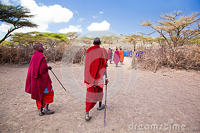 Maasai people and their village in Tanzania, Africa Editorial Photo