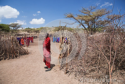 Maasai people and their village in Tanzania, Africa Editorial Stock Photo