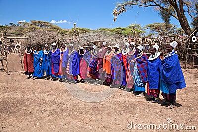 Maasai women in their village in Tanzania, Africa Editorial Stock Photo