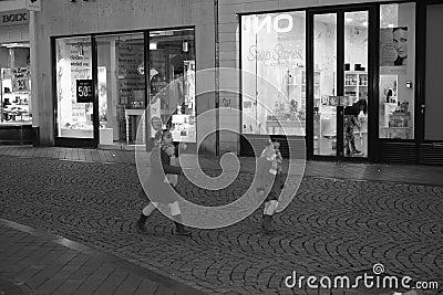 Maastricht, Netherlands, shopping street, evening. Editorial Photography