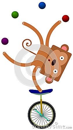 Macaco em um unicycle