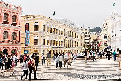 Macao landmark - Senado Square Editorial Stock Image