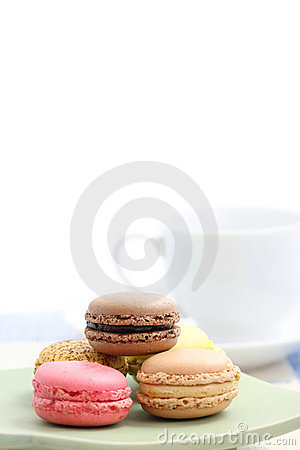Macaron with tea cup