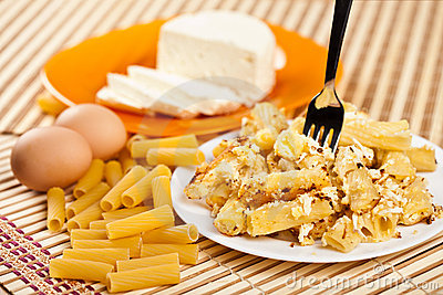 Macaroni with cheese and recipe ingredients