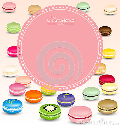 Macaroons background and sweet pink frame