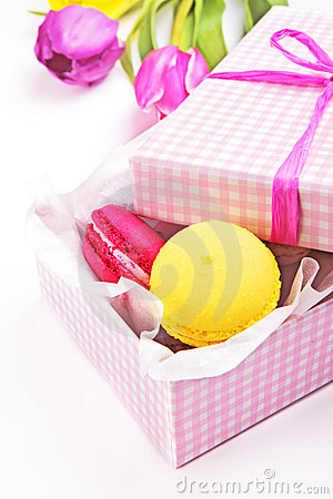 Macaroons in a pink gift box
