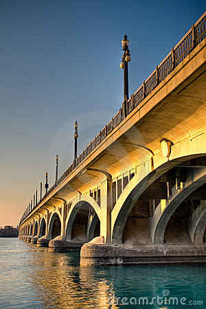 MacArthur Bridge (Belle Isle) at Sunset in Detroit