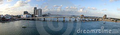 MacArthur Causeway Bridge (panoramic) Editorial Stock Photo