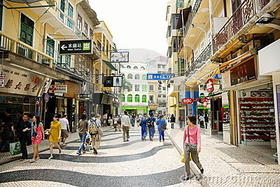 Macau historic pedestrian zone Editorial Stock Image