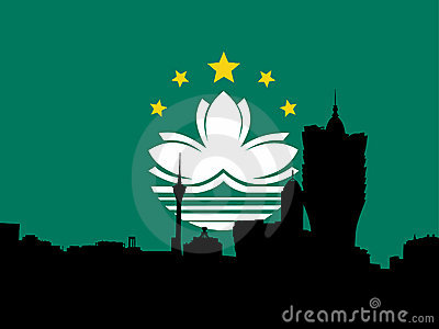 Macau skyline with flag