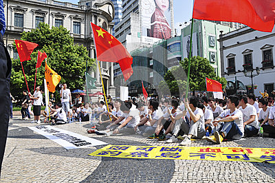 Macau student demonstrations Editorial Stock Photo