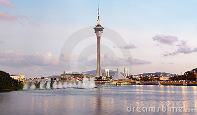 Macau Tower by waterfront  of Macao, China