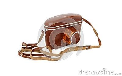 Macchina fotografica della foto dell annata in cassa di cuoio rossa isolata