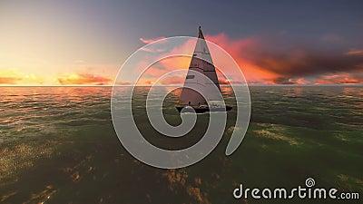Macchina fotografica intorno ad una barca a vela sull'oceano con un bello video di tramonto video d archivio