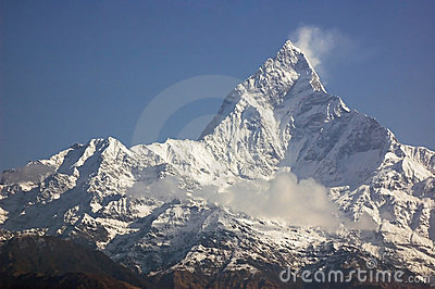 Machapuchare - majestic mountain peak in Himalaya.