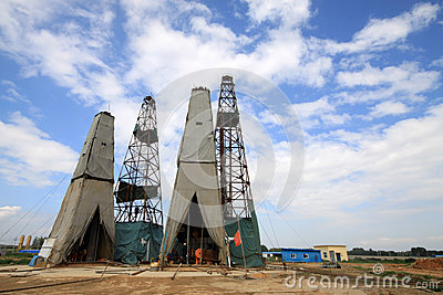 Drilling derrick in MaCheng iron mine, Luannan County, Hebei Pro