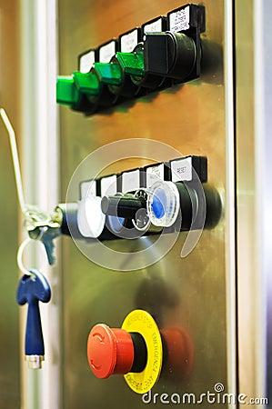 Machine control panel.