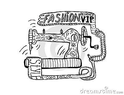machine coudre de dessin de dessin main lev e illustration de vecteur image 67367566. Black Bedroom Furniture Sets. Home Design Ideas