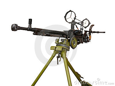 Machine gun on the tripod and optical sight