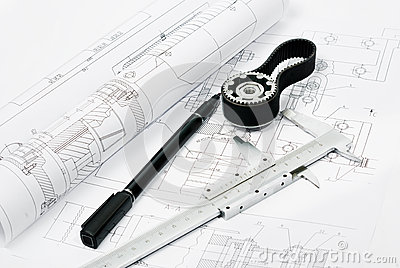 Machine part and penwith caliper, blueprint