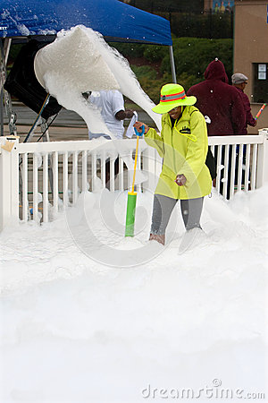 Machine Pours Out Bubbles And Foam At Race Finish Line Editorial Stock Image