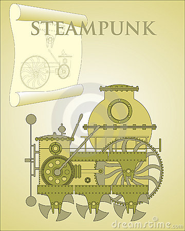 Machine in the style of steampunk