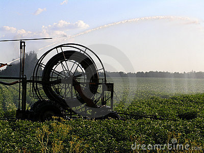 Machine watering field