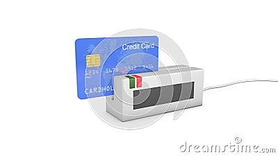 In machine worden gejat en toegelaten creditcard die royalty-vrije illustratie
