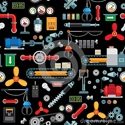 Free Machinery Industrial Seamless Pattern Stock Photography - 78268632