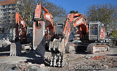 Machines of Mass Destruction, Excavator, Digger Editorial Stock Image