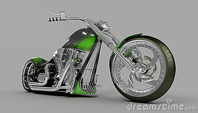 Macho custom bike green motorcycle Editorial Stock Image