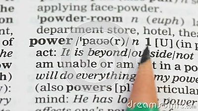 Machtswoord in Engels woordenboek, alternatieve energiebronnen, de overheid van de staat stock video
