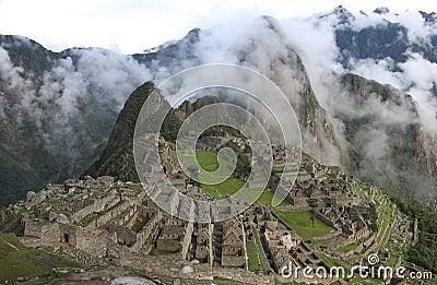 Machu Picchu with mist ( high resolution )