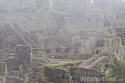 Machu Picchu Ruins in Morning Mist