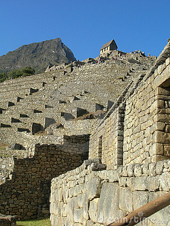 Free Machu Picchu Terraces Looking Up To Guardhouse Stock Photography - 9580812