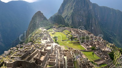 Machu Picchu - View from the wall. Smooth camera perspective of Machu Picchu