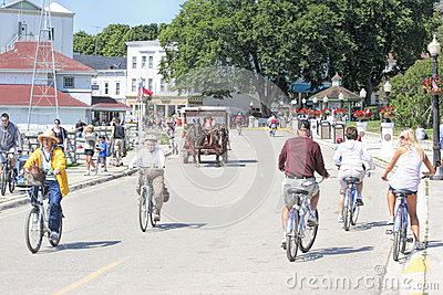 Mackinac Island, Michigan, Bikes, Bikes, Bikes Editorial Image