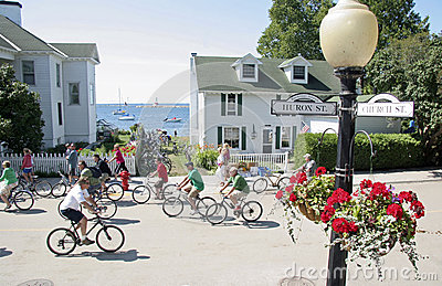 Mackinac Island, Michigan, Bikes, Bikes, Bikes Editorial Stock Image