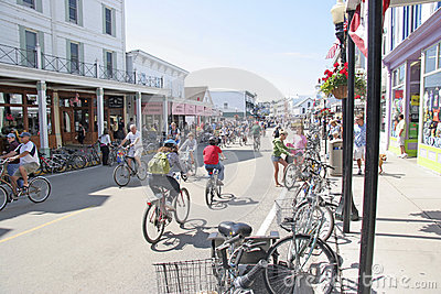 Mackiinac Island, Michigan, Bikes, Bikes, Bikes Editorial Stock Photo