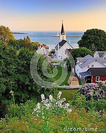 Free Mackinac Island Harbor View Sunset Stock Photos - 21276453