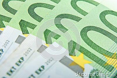 Macro 100 euro banknotes