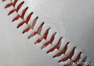 Macro of baseball seams