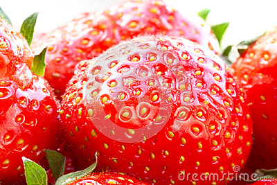 Macro of beautiful strawberries